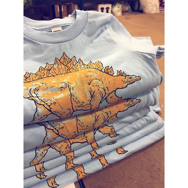 "New Dinosaur kids tee fresh off the press. I call this colorway... ""Cheetos finger friendly"" or "" Stego Mac n Cheese"""