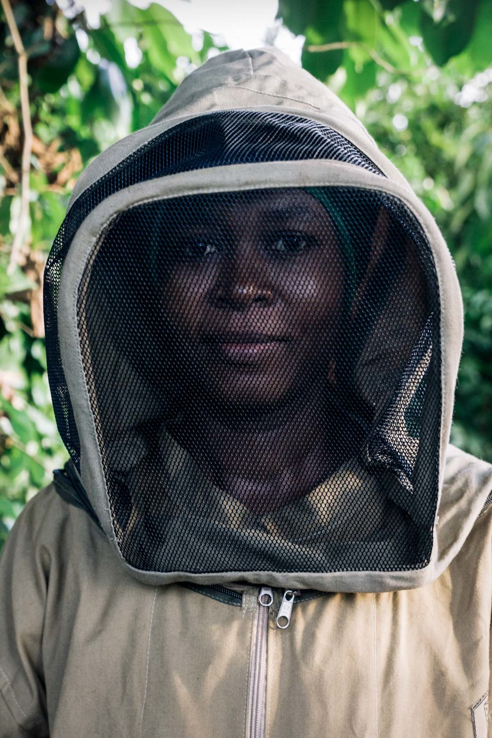 Ms. Mtumwa is learning to become a beekeeper.