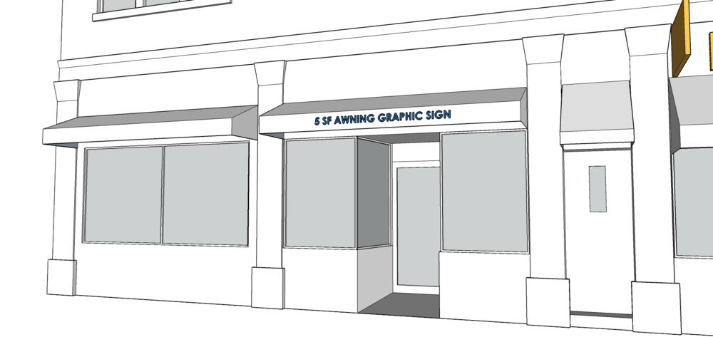 AWNING SIGN   - Graphics not to exceed 5 SF.  - Must be 8 feet above the sidewalk.  - Awning cannot extend more than 4 feet.  - Font cannot be taller than 4 inches.  - Lettering, numbers, and graphics can only be on the valance.  - Only one awning sign per business.