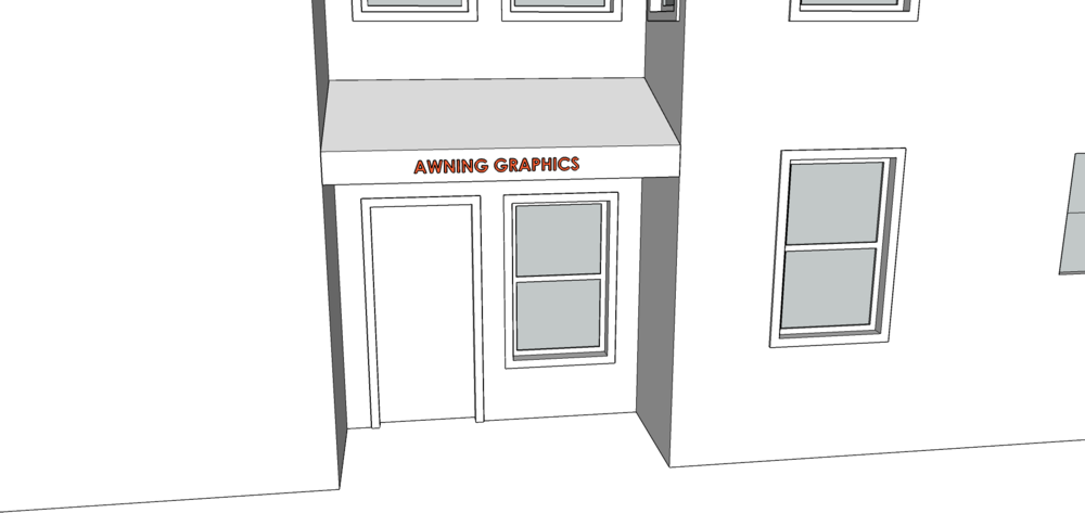 AWNING SIGN    - Graphics not to exceed 5 SF.   - Must be 8 feet above the sidewalk.   - Awning cannot extend more than 4 feet.   - Font cannot be taller than 4 inches.   - Lettering, numbers, and graphics can only be on the valance