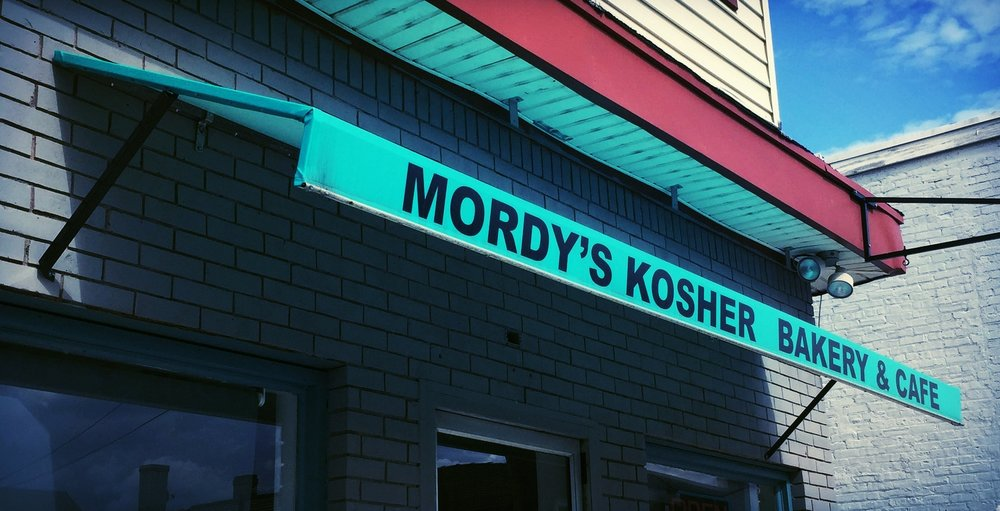 Awning Sign at Mordy's Kosher Bakery & Cafe