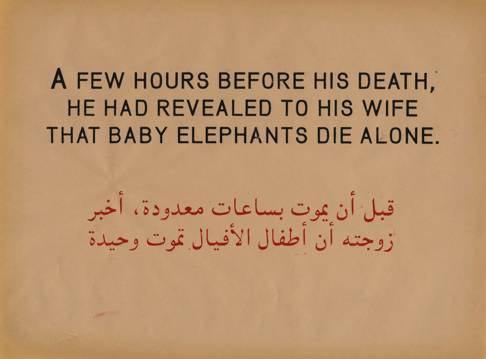 A Few Hours Before His Death, He Had Revealed to His Wife that Baby Elephants Die Alone, Prestige of terror, 2010, Work on paper, 22 x 28 cm