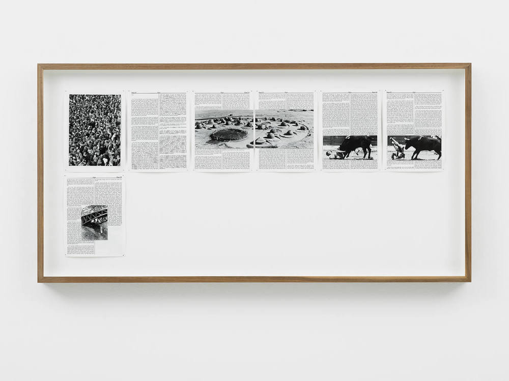 Ezra, Divine Violence, 2013, King James Bible, Hahnemühle print, brass pins, 1085mm x 535mm, Image courtesy of Lisson Gallery, London
