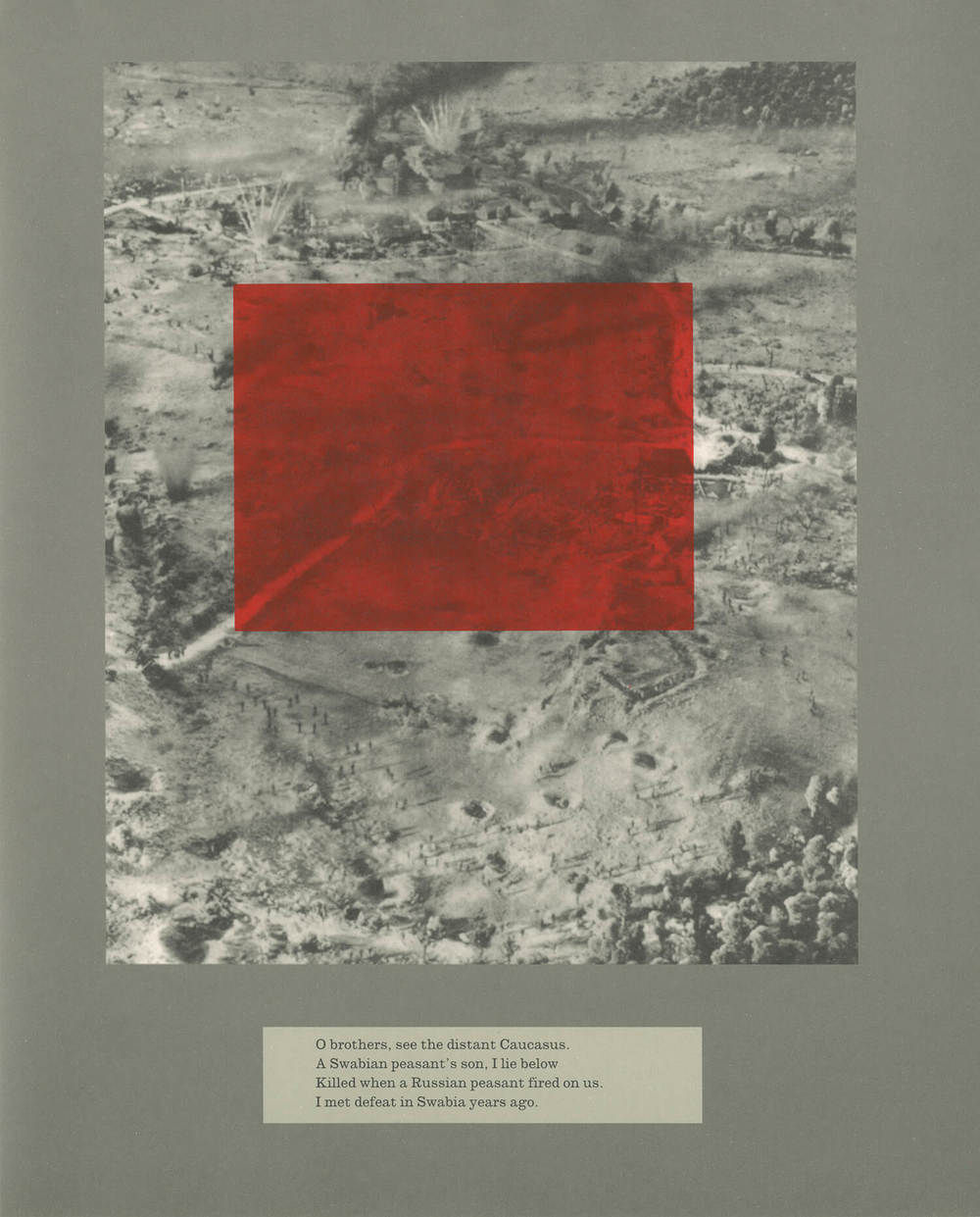 Plate 37, Poor Monuments, The burning of Um Ziefa in Darfur, Sudan. December 12, 2004 (photo Brian Steidle)  http://jspivey.wikispaces.com/Compare+and+ contrast+the+Holocaust+and+the+genocide+i n+Darfur,%3F+SB ,     Work on paper, 24cm x 29cm, 2011