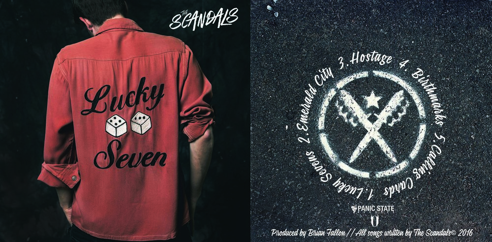 The Front and back covers of The Scandals EP 'Lucky Seven' (released April 28th, 2017 on Panic State / Say-10 Records) were shot on two separate occasions more than a year apart. CLICK TO BUY