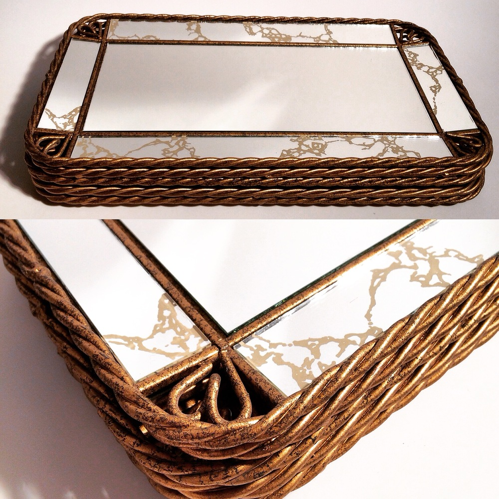 Crackle Mirrored Trays