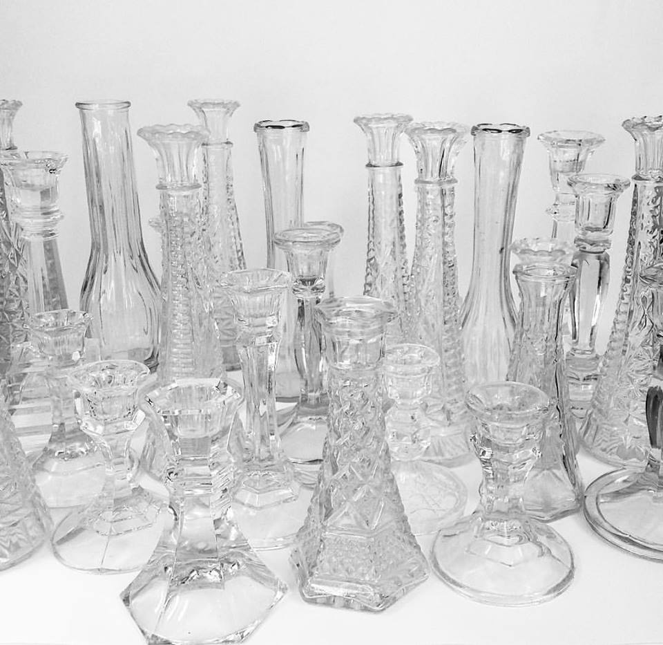 Glass Candlestick Holders + Vases