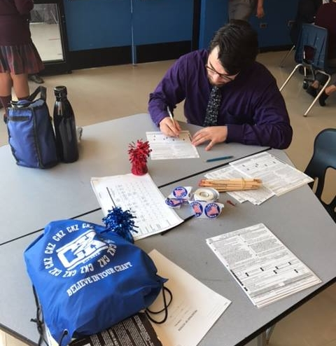 AF Hartford High students recently held a voter registration drive for staff and students.