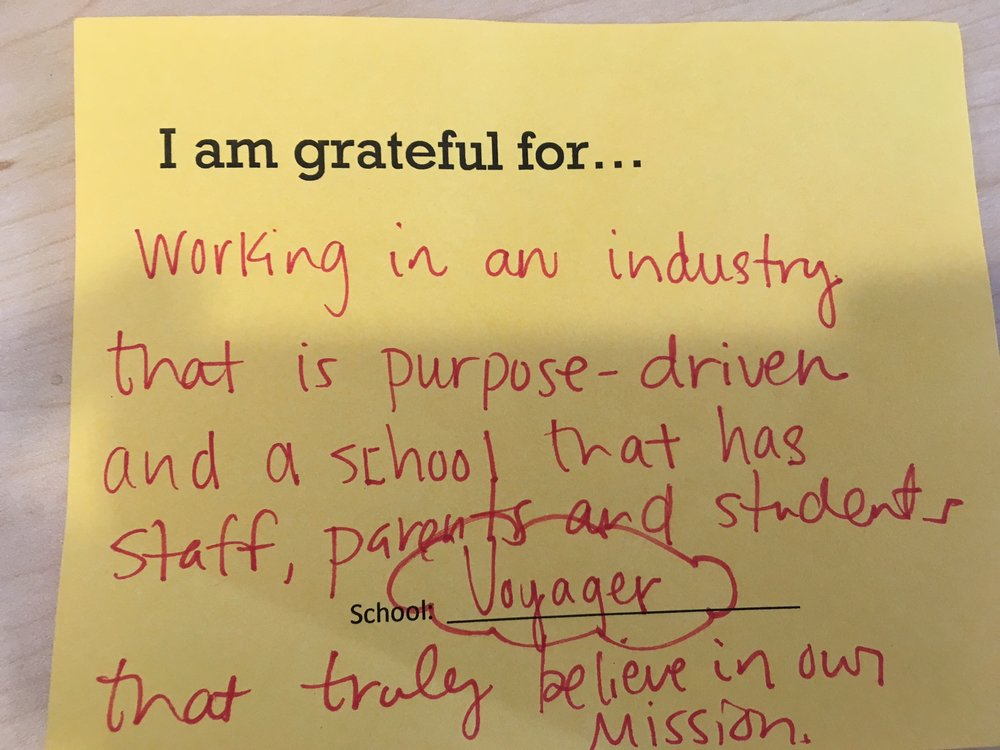 I am grateful for working in an industry that is purpose-driven and a school that has staff, parents, and students that truly believe in our mission. –AF Voyager