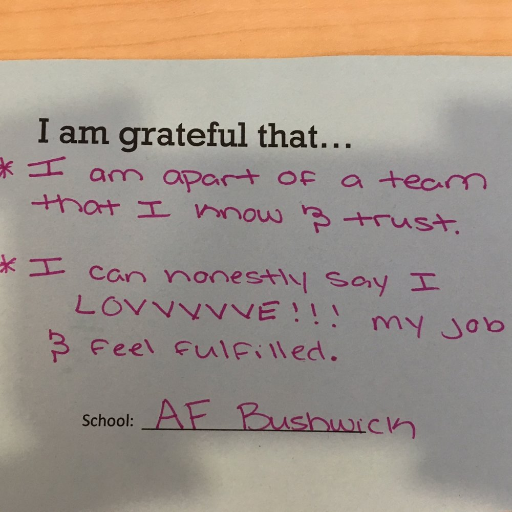 I am grateful that I am a part of a team that I know and trust. I can honestly say that I love my job and feel fulfilled. –AF Bushwick Middle