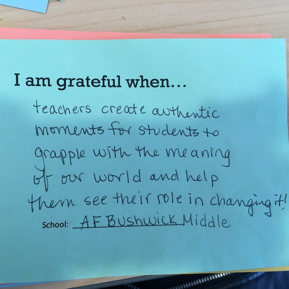 I am grateful when teachers create authentic moments for students to grapple with the meaning of our world and help them see their role in changing it. –AF Bushwick Middle