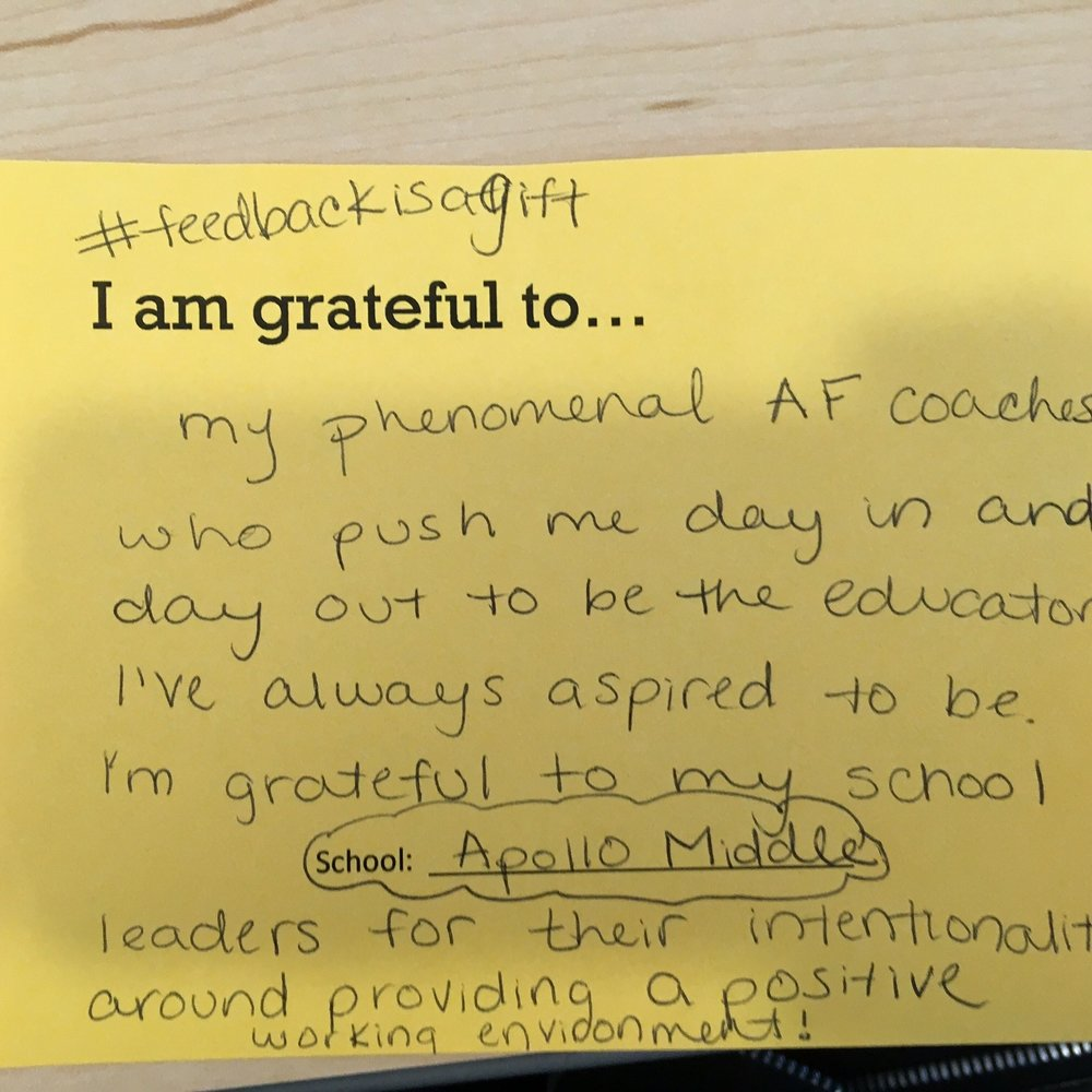 I am grateful to my phenomenal AF coaches who push me day in and day out to be the educator I've always aspired to be. I'm grateful to my school leaders for their intentionality around providing a positive working environment. –AF Apollo Middle