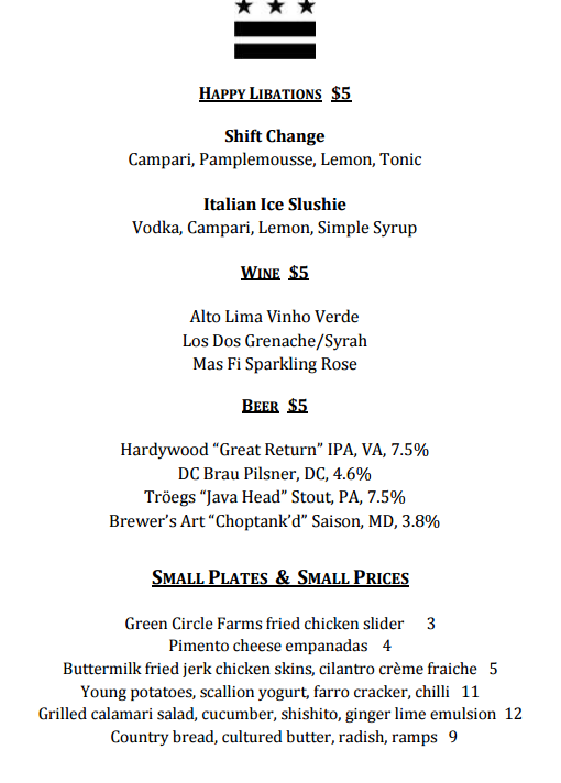 Happy hour menu with good wine, food, drinks, and beer. Bar Pilar Happy Hour Menu