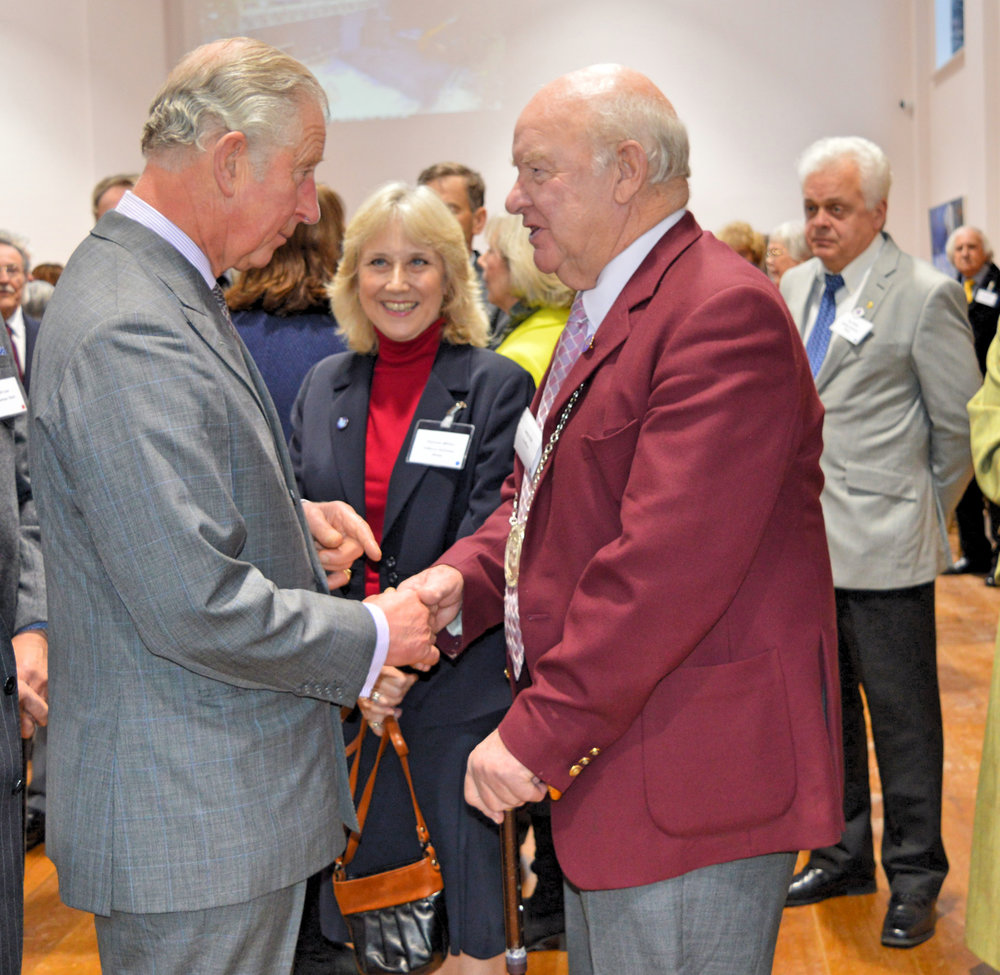 His Royal HighnessThe Prince of Wales with Lance Vick chairman of the Feoffees as Terri White looks on.  Photo credit: K Painter