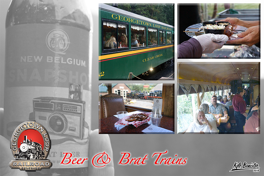 This collage of photos features all that is available during the beer and brat specialty train held on specific dates throughout the year. Pictures of local craft beer, pretzel snacks in the parlor car, bratwurst, and patrons enjoying an evening on the train in both the waldorf parlor car and the coach section round out the activities for a fun night train experience on the loop.