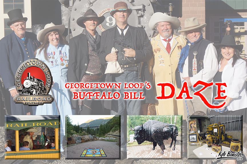This collage features the exciting events during buffalo bill days, which takes place at the historic Georgetown Loop Railroad in August. Re-enactors are shown in front of the Shay number nine steam engine. They are also pictured in the railroad cars visiting with train riders. The weekend also features chalk art, photo opportunities, music, cowboy poetry, and more.