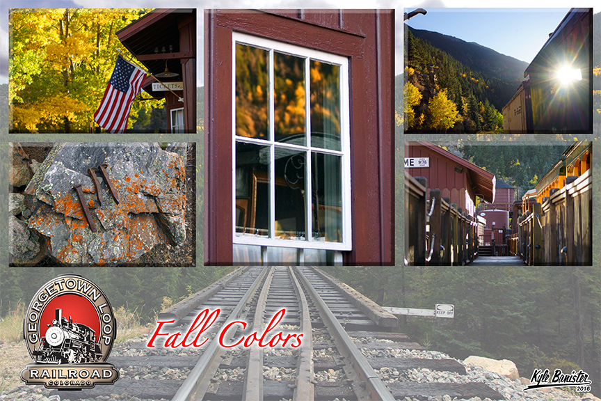 This photo collage features the fall colors train. The Georgetown Loop Railroad loves to celebrate the changing colors of the aspen leaves. This train runs during regular scheduled times through the fall season and gives riders the opportunity to see the bright yellows and oranges of the changing leaves. Ride the historic train this time of year and get a sense of the Rocky Mountains in all their glory. Imagine a time long gone where those riding the train in the late 1800s had a chance to view just what you get to see.