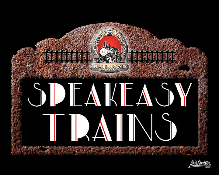 This simple collage highlights the Speakeasy train series. Featuring a rustic metal background, train tracks, and the Georgetown Loop Railroad logo, it reminds potential patrons of an era long gone.