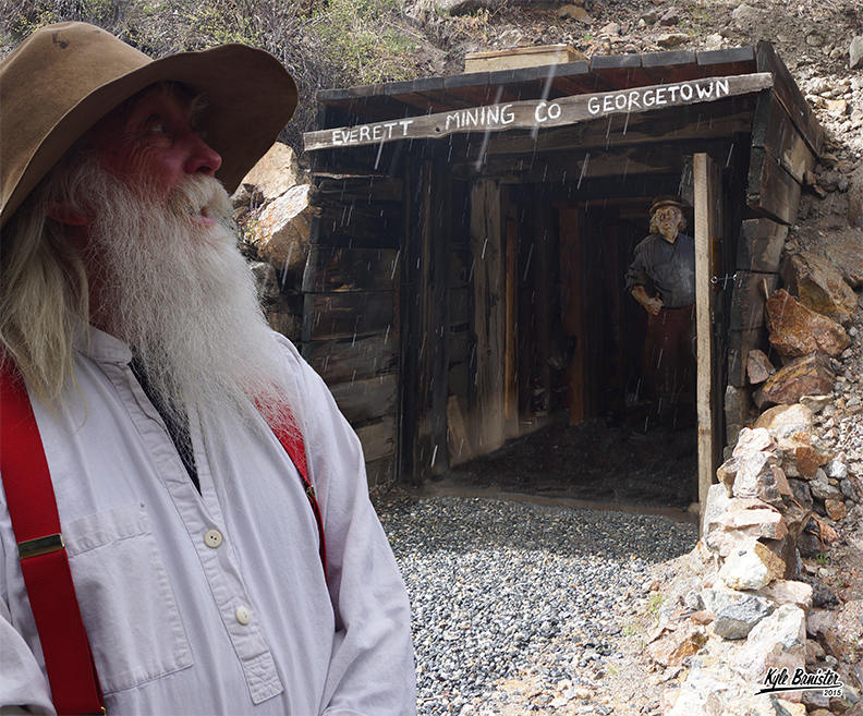 A photo of the Everett Gold Panning and silver mine tour. Pictured is a mining re-enactor, all part of the mining tour experience at the historic Georgetown Loop Railroad in Georgetown, Colorado.