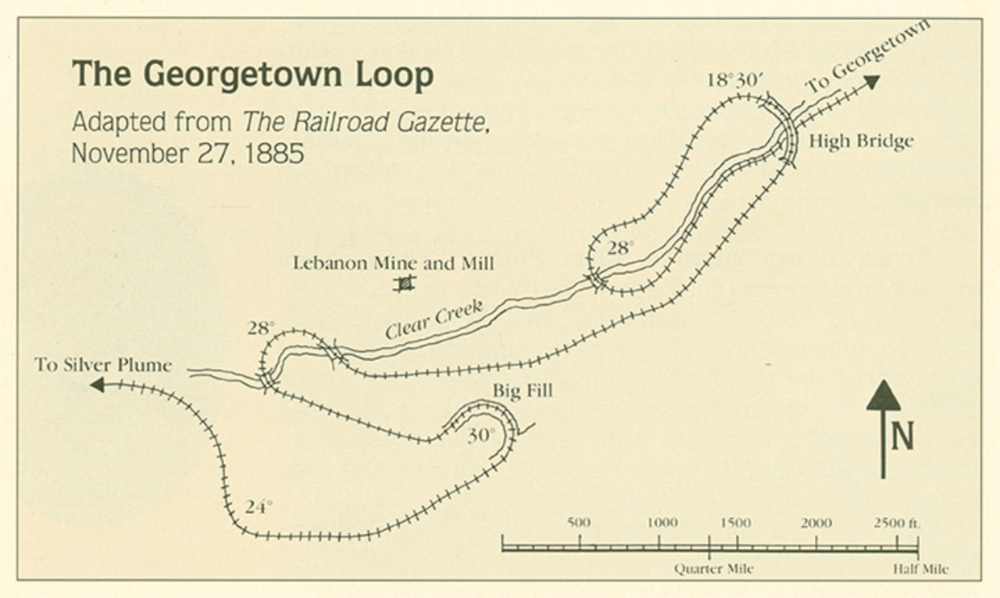 This is an old map of the Georgetown Loop Railroad, dated November 27, 1885.
