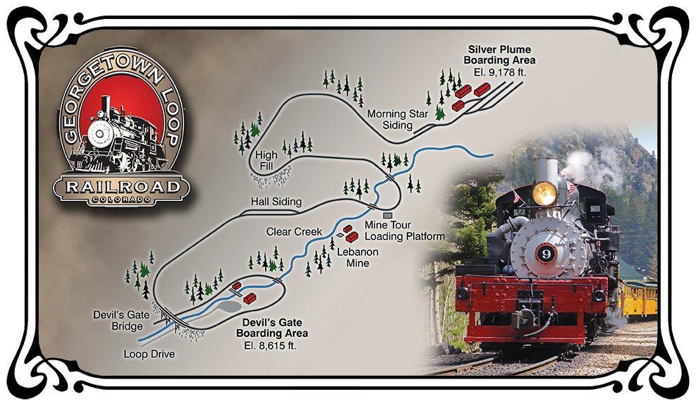 This is an updated map of the Georgetown Loop, featuring trees, Clear Creek, a Georgetown Loop logo, and a photo of the shay #9 diesel engine.