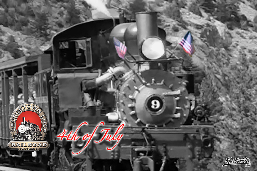 A black and white photo of the old shay number 9 adorned with colorful American flags. Celebrating the fourth of july with the Georgetown Loop Railroad is always a great way to celebrate this national holiday. See the Georgetown, Colorado firewords after the train returns.
