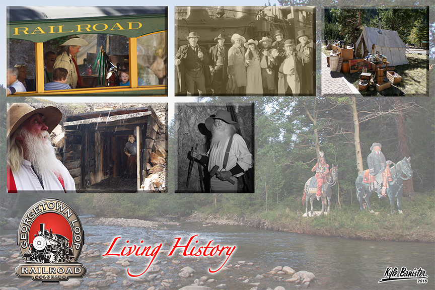 This collage of photos relates to the historic events held at the Georgetown Loop. Re-enactors dressed as indians, buffalo bill, and old time miners are portrayed.