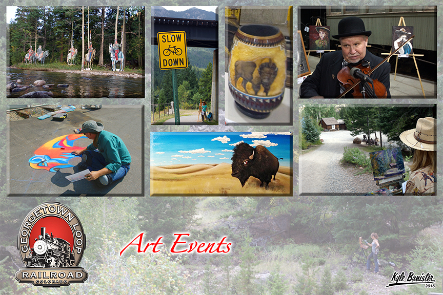 This collage features photos of many of the different art events held at the Georgetown Loop Railroad and Park. Trains featuring events including chalk art, photography, painting, music and more are offered throughout the year.