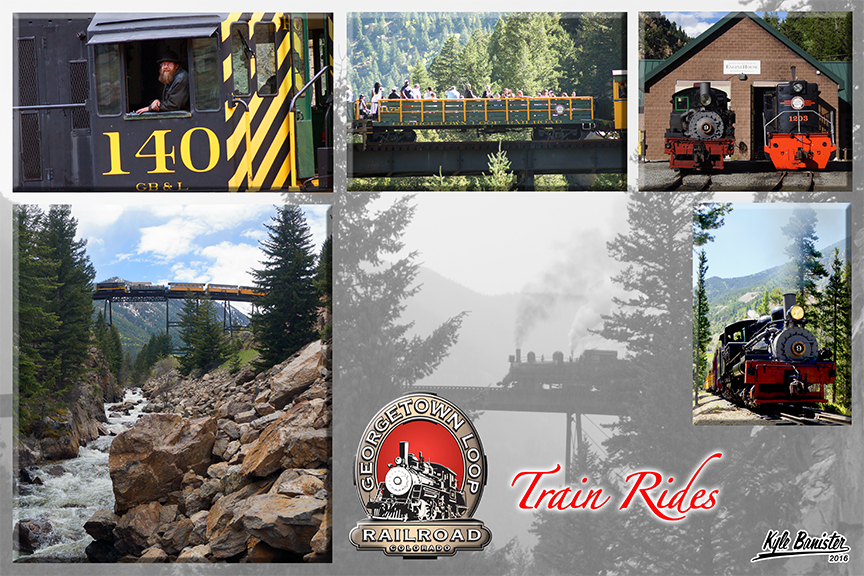 This photo collage features the train crossing the high bridge over Clear Creek, the Georgetown Lop Railroad lobo, a conductor waving from one of the historic steam engines, and a photo of the coach train section with an open top which riders enjoy in the summer months.