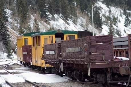 This is a photo of the open air coach class cars at the Silver Plume station on the Georgetown Loop Railroad