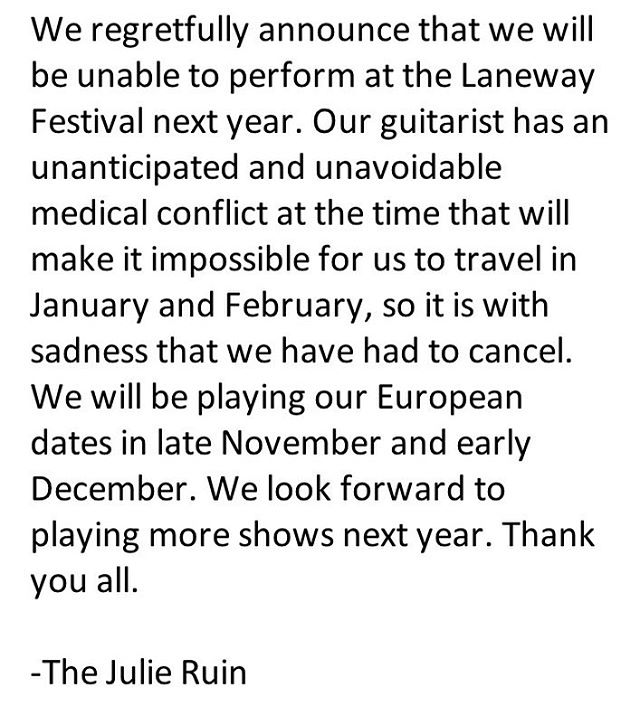 Apologies to our fans in Australia. We will be back. xoTJR