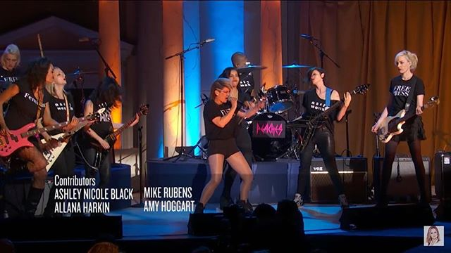 Check out @KathiWilcox with Peaches, members of Lunachicks, Ex Hex, et al, tearing it up on @fullfrontalsamb!! Find it on YouTube. Not The White House Correspondent's Dinner.