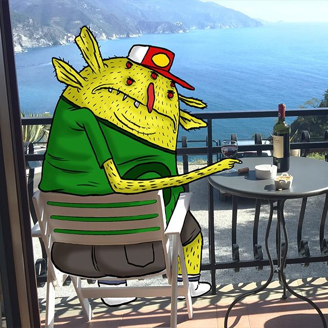 Had a visitor on our stay in the Cinque Terre. Liked our wine a little too much! #animation #design #travel #cinqueterre #italy