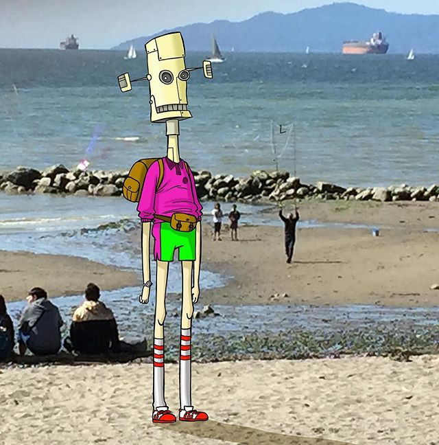 Long Weekend with 1980's Robot Headed Guy on English Bay. Been awhile. Been occupied on several projects! #vancouver #english bay #animation #travel #design