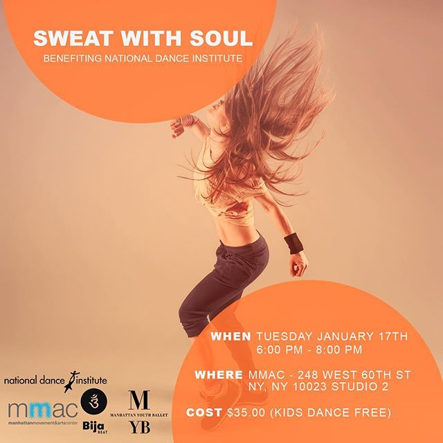 Ready to Sweat With Soul? Come dance with @BijaBeat and  @myballet1 on Tuesday, January 17th for a great cause - funding the amazing work of @nationaldance. You're going to love what we have in store for you! What's that? We'll give you a hint: it's impactful. Get the details and your tickets via link in bio.