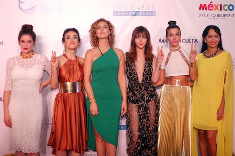 Latin Actresses pose on the red carpet.