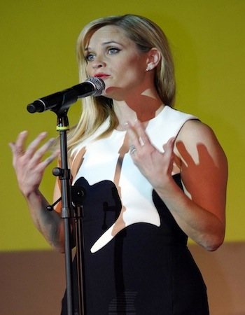 "Reese Witherspoon introducing the Latin American premiere of her newest film ""Wild""."