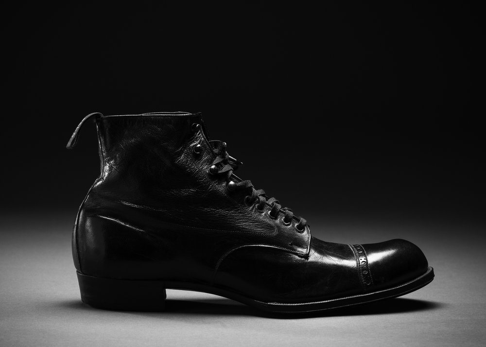 1920s Black Cap Toe Boots