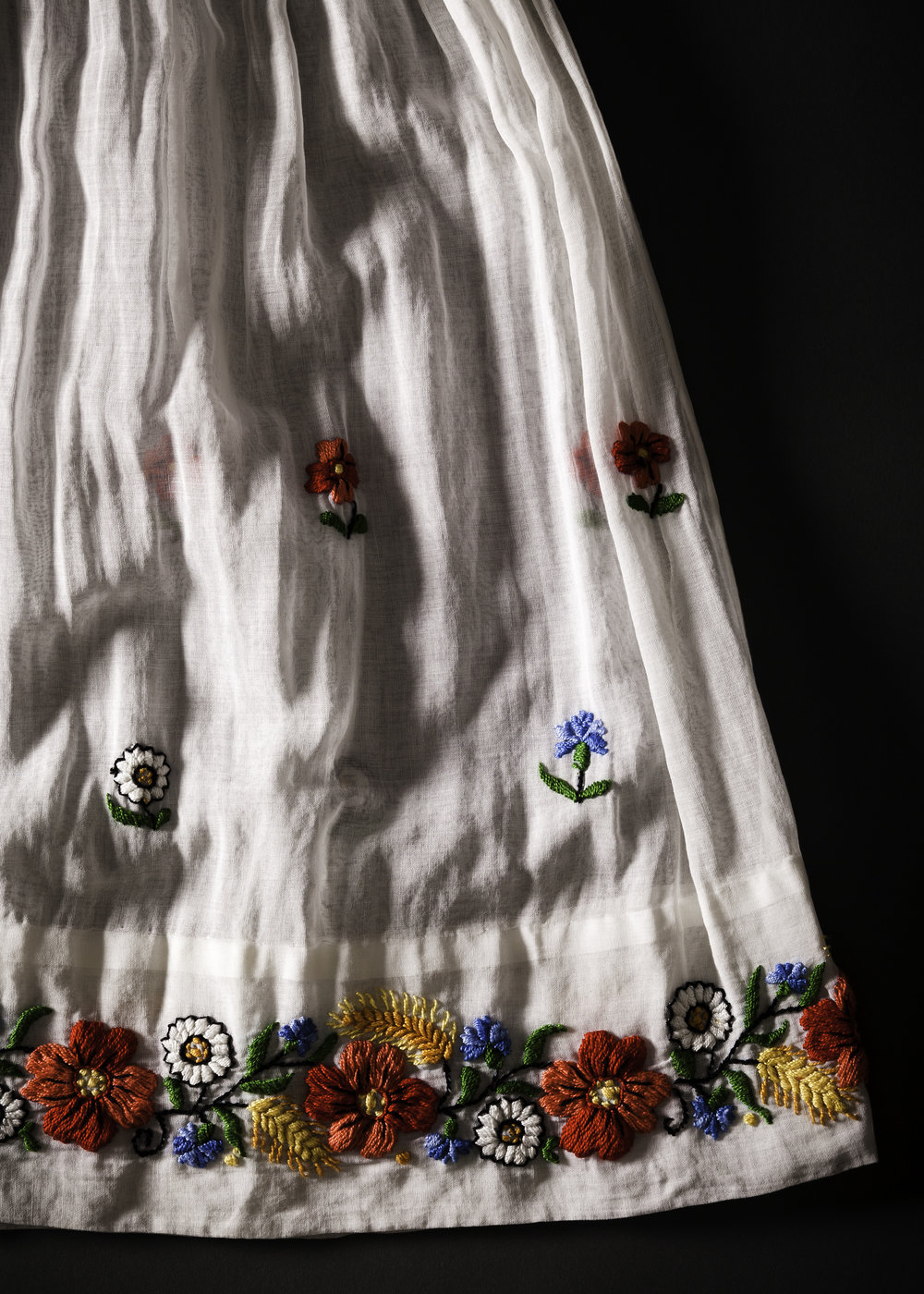 1930s Hungarian Hand Embroidered Dress Detail