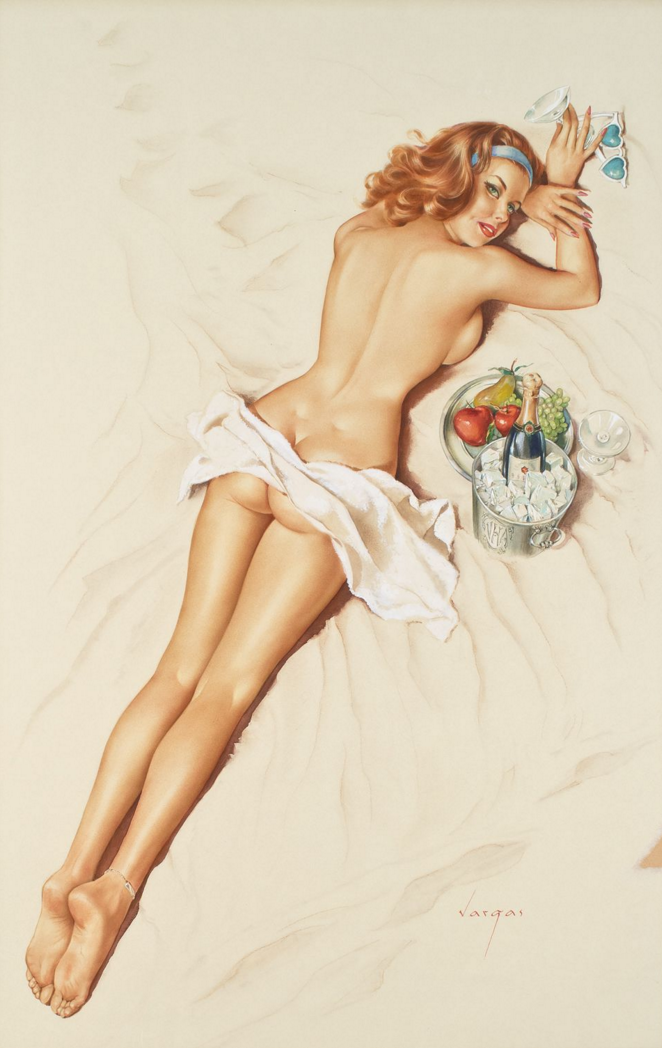 """""""You're Really Forgetful Darling, That's the Third Time You've Covered Me with Suntan Lotion"""" 1966, watercolor on board, 26 x 16.75"""""""