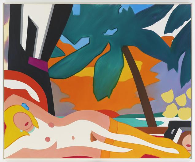"""Tom Wesselmann """"Sunset Nude with Big Palm Tree"""" (2004) Oil on canvas. 105 by 128 in."""