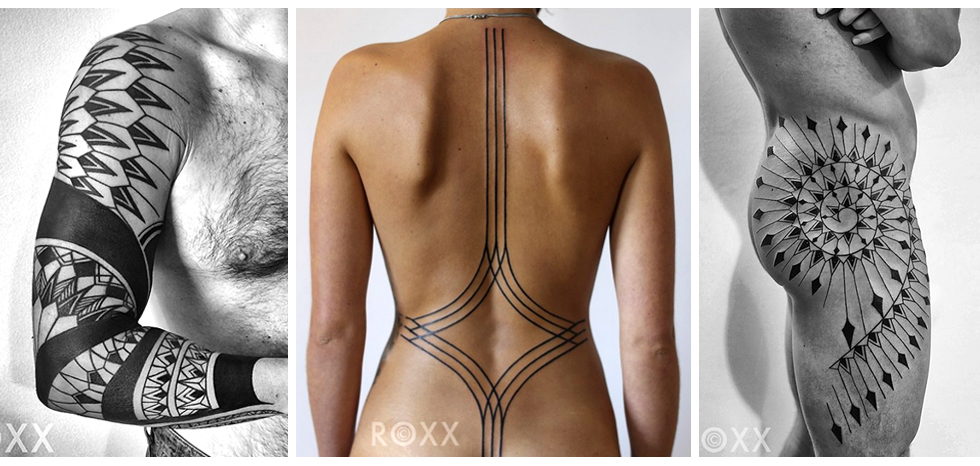 @roxx_____is perfect for the bold and graceful. Long lines of graceful ink, wrapping the body to create a full inked look. Roxx's work follows the lines of the body and it's muscular structure, taking anatomy and conturing into account.