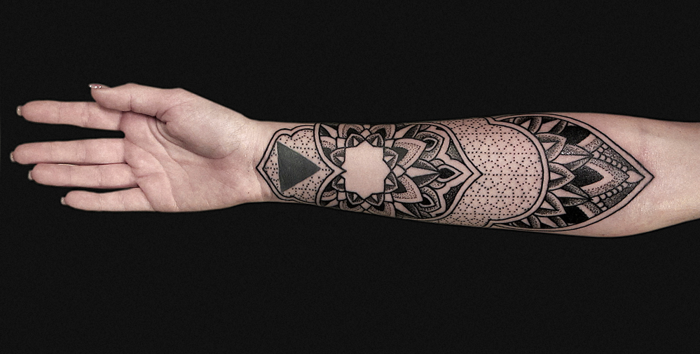 @xnazax, better known as Nazareno Tubaro is an amazing tattoo artist in Argentina. He takes a close look into patterns and geometry, translating them into beautiful designs, often stretching over an entire arm or torso.