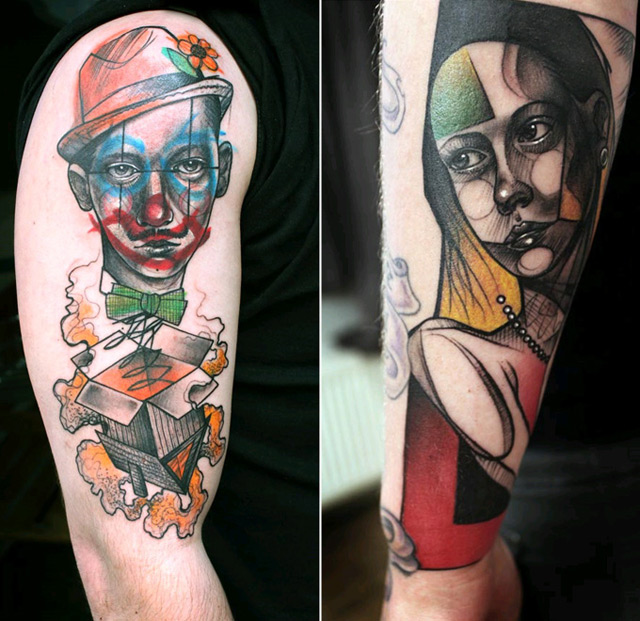 @peteraurischis a german artist who takes classical art, modern graphics and tattoos and combines them into a miraculous piece of work.