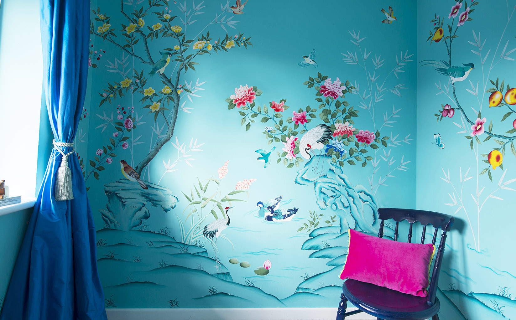 Hand Painted Turquoise Chinoiserie Nursery Room Inspired By Antique Silk Wallpapers