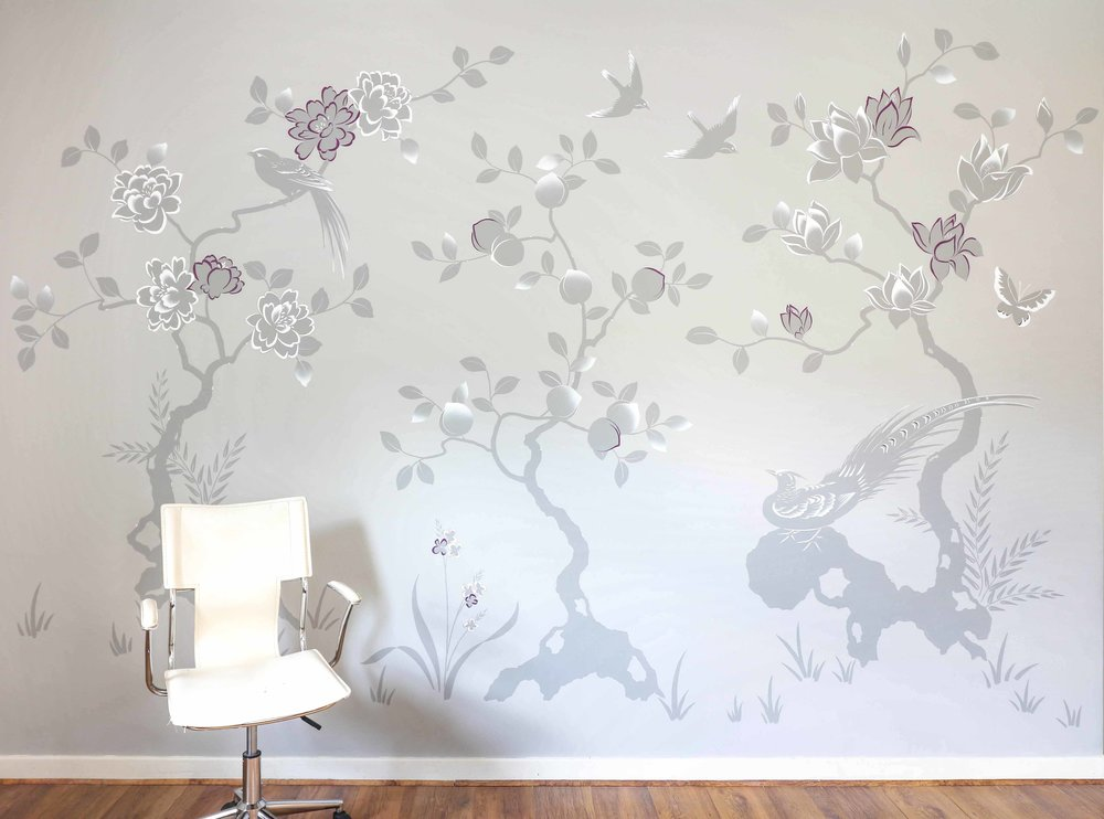 Diane Hill hand painted interiors modern chinoiserie london apartment