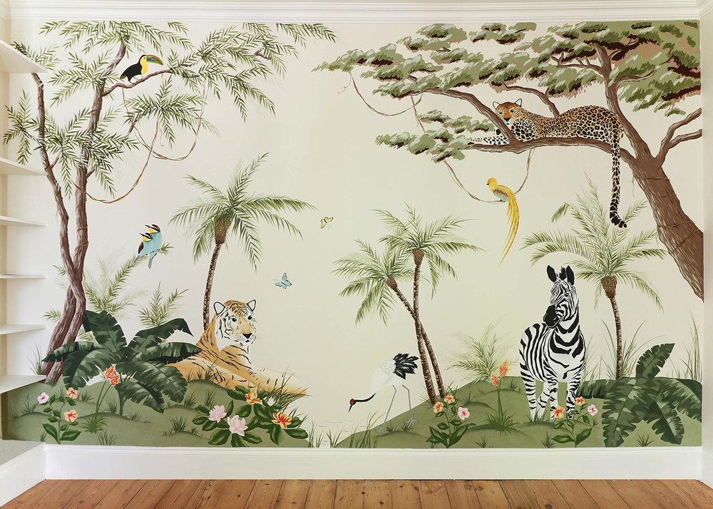 Diane Hill hand-painted interiors jungle scenic nursery