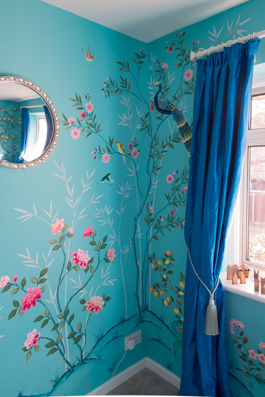 Diane Hill hand-painted Chinoiserie nursery room wall mural