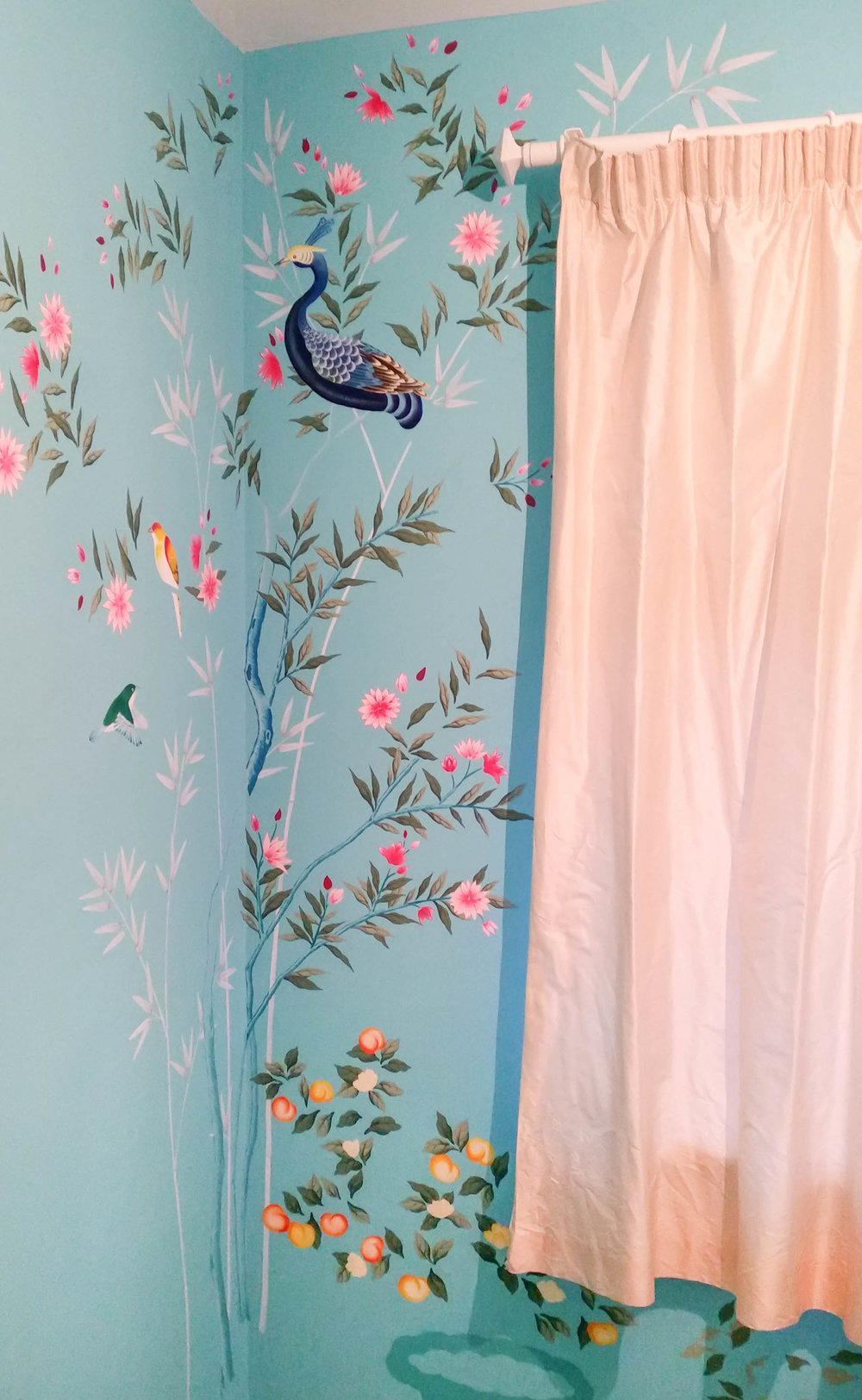 Diane Hill painting leaves and peacock chinoiserie design