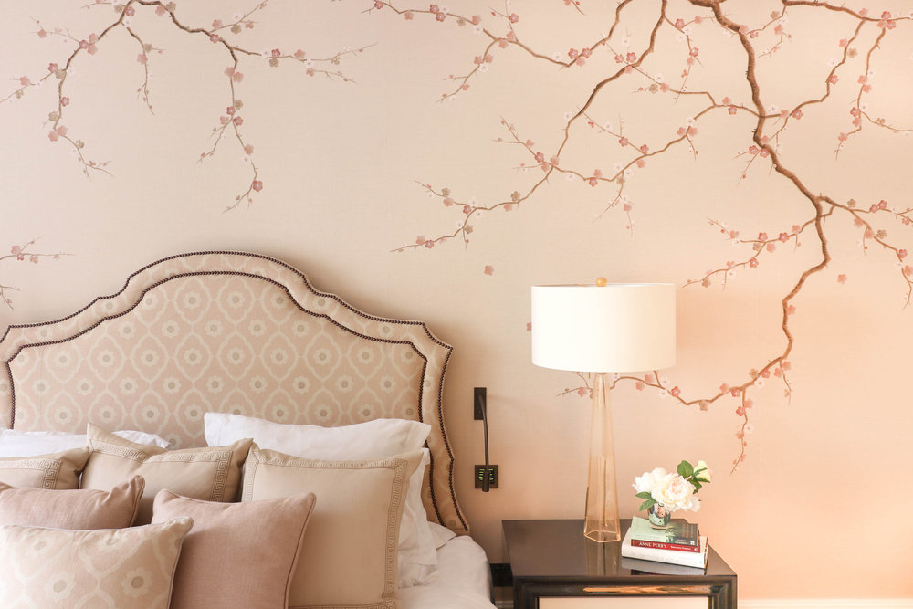 Diane Hill hand painted interiors cherry blossom mural kensington